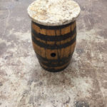 Whisky Barrel End Table With Granite Top